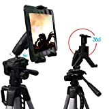 ChargerCity® HDX-2 Selfie Video Camera Recording Tripod Adapter Mount w/Dual 360° Swivel Adjustment Joint for 7 8 9 10 11 12 inch Screen Tablets like Apple iPad Air Mini 2 3 4 Plus Samsung Galaxy Tab Note Microsoft Surface Pro Nexus LG Asus Tablet