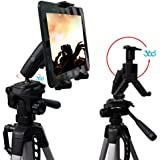 HDX2-RM8 Video Record Periscope Tablet Tripod Mount with Dual 360° Swivel Adjust Joint for 7-12-inch Tablets like Apple iPad Pro Air Mini, Galaxy Tab S2 A Note & Surface Pro Slate