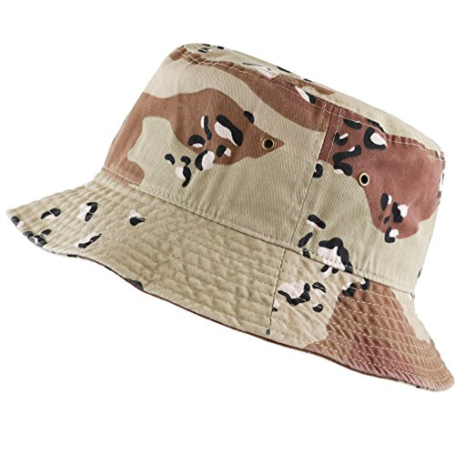 (The Hat Depot 300N Unisex 100% Cotton Packable Summer Travel Bucket Hat (S/M, Desert Camo))