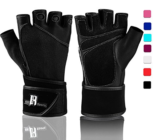Wrist Wrap Gloves For Gym Workout - Premium Weight Lifting Gloves For Gym Equipment - Best Gym Gloves - Ideal For Gym Weights Equipment Power Lifting (Black L)
