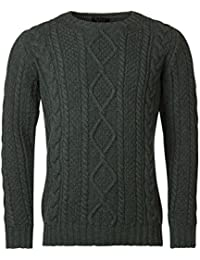 Mens Made In Scotland 100% Lambswool Chunky Cable Knit Crew Neck Pullover
