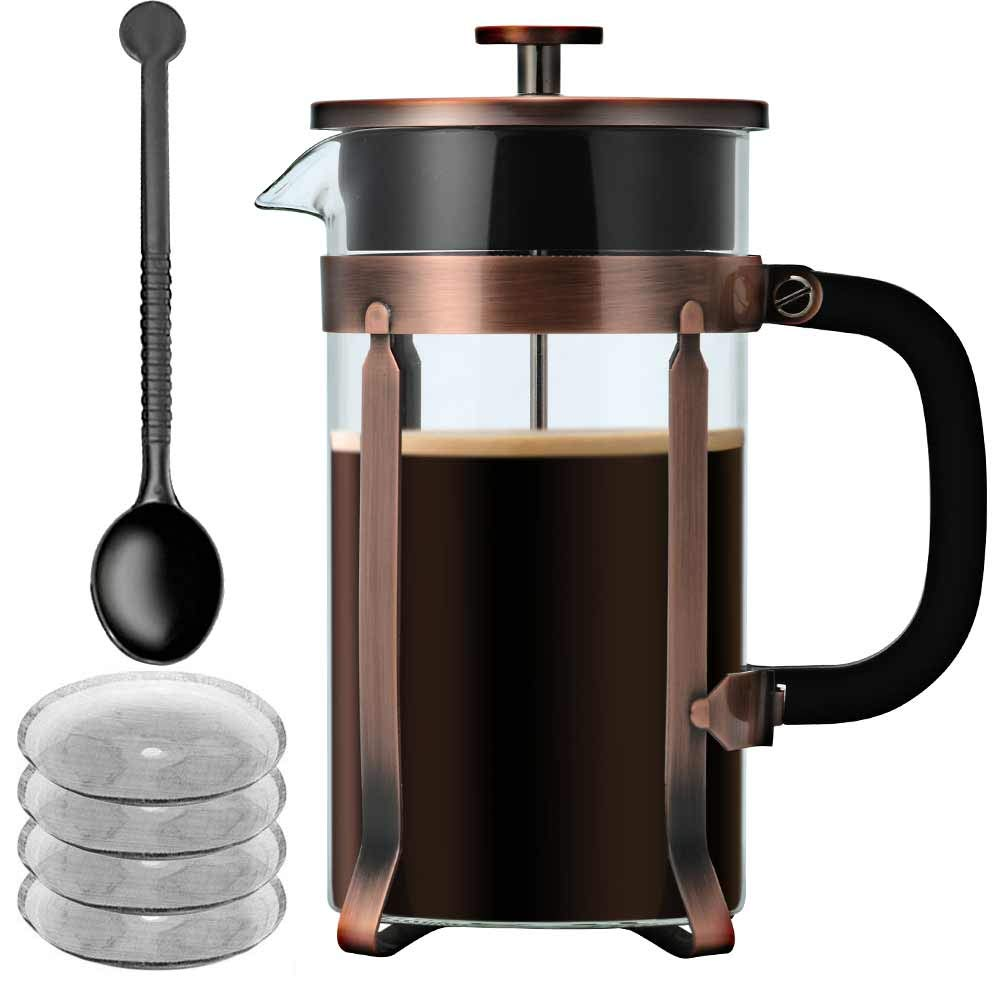 French Press Coffee Maker 34 oz (8 Cup), Glass Coffee Pot with Stainless Steel & Heat-Resistant Borosilicate Glass, 4 Screen Filters