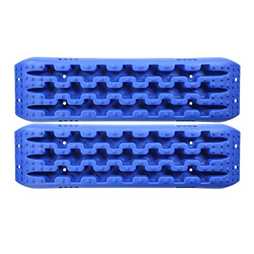 CPOWACE 2PCS Snow Sand Mud Recovery Traction Track Boards Mat Emergency Tires Traction Mats Track Trapped (Blue)