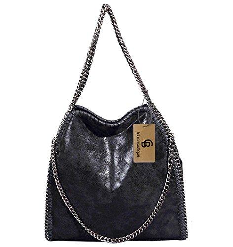 Womens Handbags Purse Tote Hobo Shoulder Crossbody Bags Chain Strap,Black (Like Purse Leather Handbag)