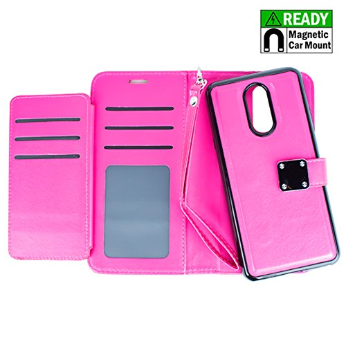 LG Stylo 4 Cellphone Case - TRSUSA Magnetic Detachable Wallet Case, Built in Metal Plate, TPU + PU Leather Wallet Protective Case with Extra Pockets for Stylo 4 Smartphone - WALLET HOT PINK