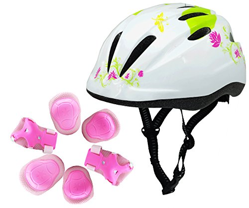 Super Hardshell (BeBeFun Pink Girl Toddler and Kids Multi-Sport Bike super lightweight Helmet (BUtterfly&pads))