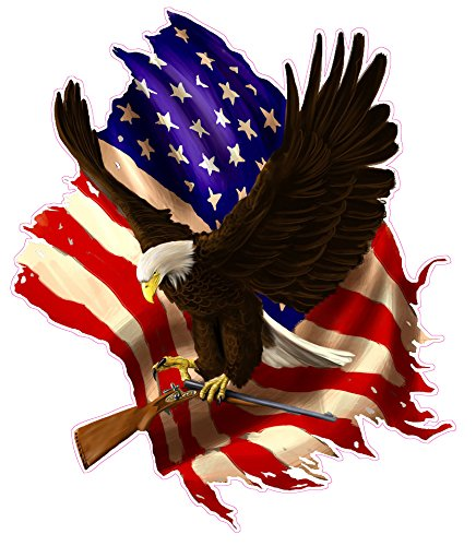 (Baring Arms American Flag Eagle Decal 5