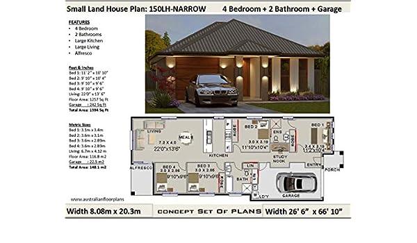 Amazon.com: Small Lot - Narrow Land House Plan - 4 Bedroom 2 ...