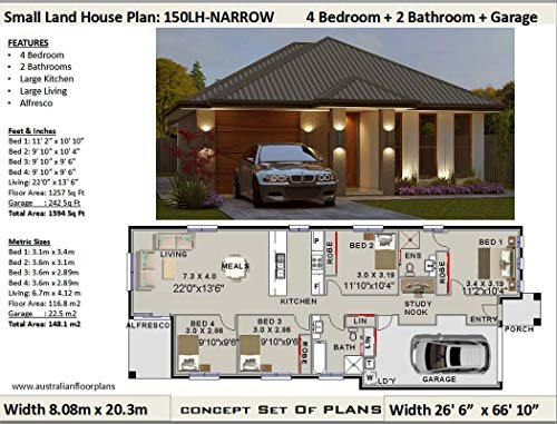 Amazon.com: Small Lot - Narrow Land House Plan - 4 Bedroom 2 ...