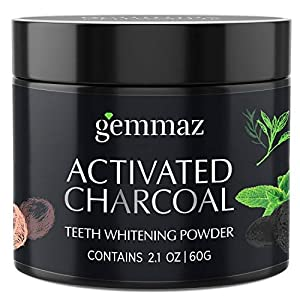 Organic Activated Charcoal Teeth Whitening Powder (60g), Carbon Coco teeth whitening Shell Premium Food Grade, Non Abrasive, Safe & Natural Tooth Whitener Candy Cane Mint Flavour by Gemmaz