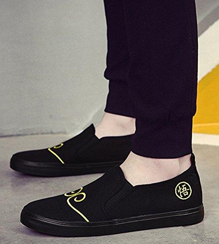 Idifu Heren Casual Laag Uitgesneden Slip Op Platte Loafers Zachte Bodem Wandelen Bootschoenen Zwart Canvas