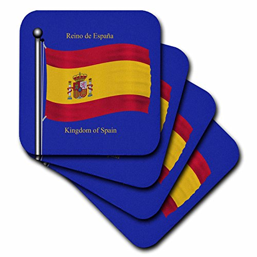 3dRose cst_63207_2 The Flag of Spain on a Blue Background with Kingdom of Spain in English and Spanish-Soft Coasters, Set of 8 by 3dRose