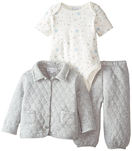 Quiltex Baby-Boys Newborn 3 Piece Quilted Jacket with Printed Bodysuit and Quilted Pant, Grey, 9 Months