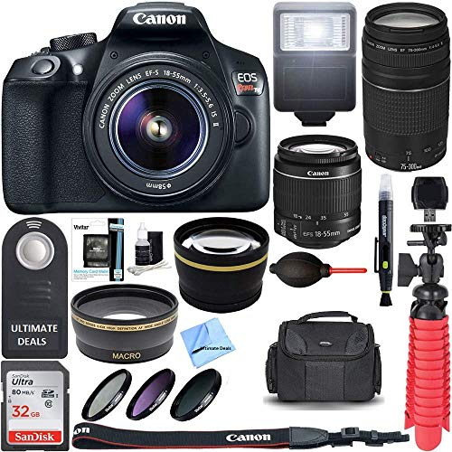 Canon T6 EOS Rebel DSLR Camera w/EF-S 18-55mm is II & 75-300mm III Lens Kit + Accessory Bundle 64GB SDXC Memory + SLR Photo Bag + Wide Angle Lens + 2X Telephoto Lens + Flash + Remote+ Ultimate Bundle