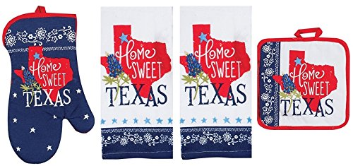Kay Dee Home Sweet Texas Premium 4-Piece Kitchen Linen Set. Two Decorative Tea Towels, Oven Mitt, & Pot Holder. Red White & Blue Lone Star and Bluebonnet Pattern. 100% Cotton. Great Gift! (Cherry Fresh Oven Mitt)