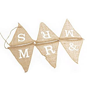 Pixnor 6 pcs Vintage Affair MR and MRS Hessian Burlap Bunting Wedding or Party Decoration Banner Brown from Pixnor