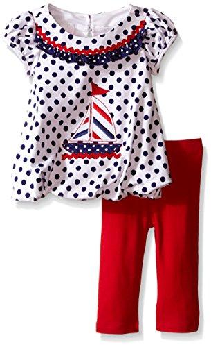 Nautical Appliqued Knit Playwear Set, White, 3-6 Months -