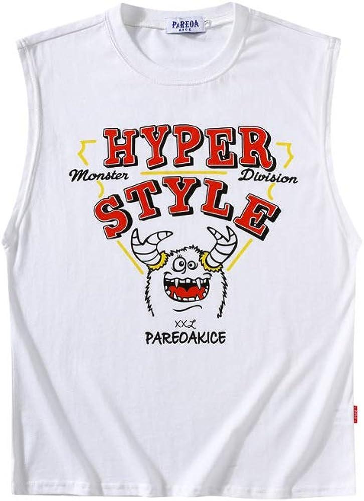 HOSD Casual Mens Sleeveless T-Shirt Summer New Student Printed Waistcoat Vest Loose Men