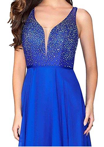 Ballkleider Chiffon Bodenlang Braut Partykleider Damen Royal Blau Linie V Rock Ausschnitt Blau Abendkleider Royal Marie La A qfzIwTf