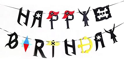 Pirate Birthday Party Decorations for Kids Pirate Theme Party Supplies Birthday Party Baby Shower Pirate Happy Birthday Banner Pirate Balloons Mustaches Cupcake Toppers for Boys Children 1st 2nd 3rd 4th Birthday Supplies