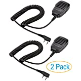 2 Pack Compact Speaker Mic with Kevlar Reinforced Cable for Baofeng Radio BF-F8HP BF-F9 UV-82 UV-82HP UV-82C UV-5R UV-5R5 UV-5RA UV-5RE UV-5X3 V2+ and TYT Wouxun Kenwood Radio, Speaker Microphone