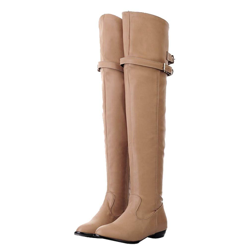 BBestseller-Botas botas mujer invierno, mujer botas largas botas de caballero cabeza redonda tubo alto hebilla de cinturón femenina botas planas: Amazon.es: ...