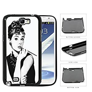 Audrey Hepburn Black And White Sketch Hard Plastic Snap On Cell Phone Case Samsung Galaxy Note 2 II N7100