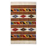NOVICA Multicolor Wool Area Rug (3.5' x 5'), 'Stars Dance'