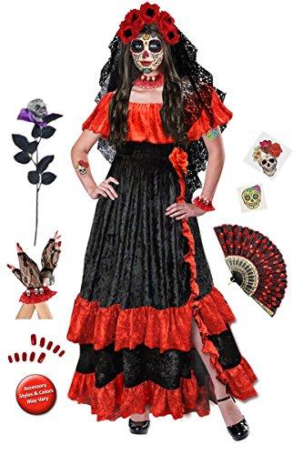 Dia de los Muertos Plus Size Supersize Halloween Costume Deluxe Kit (Halloween Costumes And Plus Sizes)