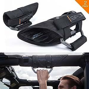 "GPCA Wrangler Metal Grab Handles - GP-Grip PRO Jeep Handle for JK JKU Sports/ Sahara/ Freedom/ Rubicon X Unlimited X 2DR/4DR 2007-2017 w/ 3"" padded Roll bars (Pair)"