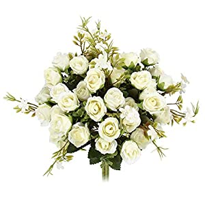 MARJON Flowers5 Branch 10 Heads Aritificial Fake Flowers Silk Mini Rose Flowers for Wedding Bridal Bouquet Home Office Decor, Pack of 4 (White) 94