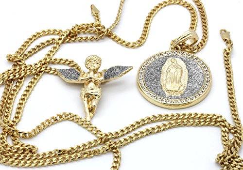 """Mens 14k Gold Plated Silver Stardust Long Wings Angel & Guadalupe Pendants 30"""" Cuban"""