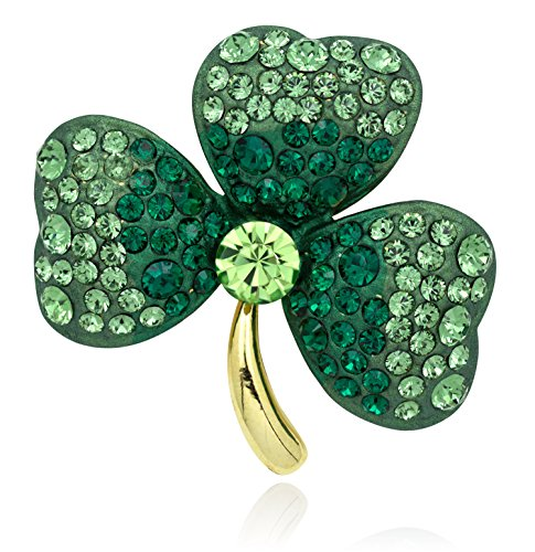 Akianna Gold-Tone Swarovski Element Crystals Gold Tone St Patrick Day Three Leaves Clover Pin