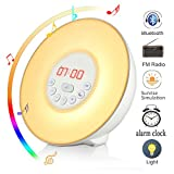 Wake Up Light, Wuloo Bluetooth Sunrise Simulation Wake-Up Light Colored Sunrise Alarm Clock, with Bluetooth Speaker, Nature Sounds FM Radio, 7 Colours /10 Brightness, Touch Control Sunset&Snooze
