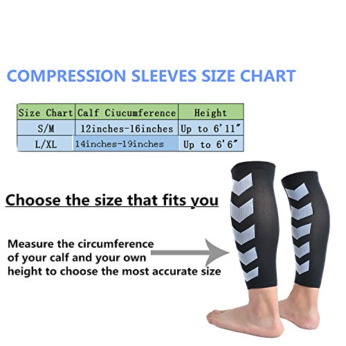 Faladi High Performance Graduated Calf Compression Sleeves for Men& Women (1 Pair)-Help Relief Shin Splints, Calf Strain and Reduce Fatigue -Great for Running,Cycling,Maternity,Travel&More (L/XL) by Faladi (Image #2)