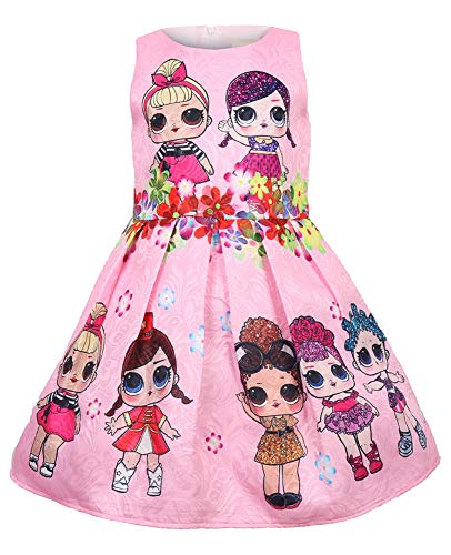 WNQY Girls Surprise Princess Costume Doll Digital Print Party Gown Dress for Doll Surprised (120/4-5Y, Pink)