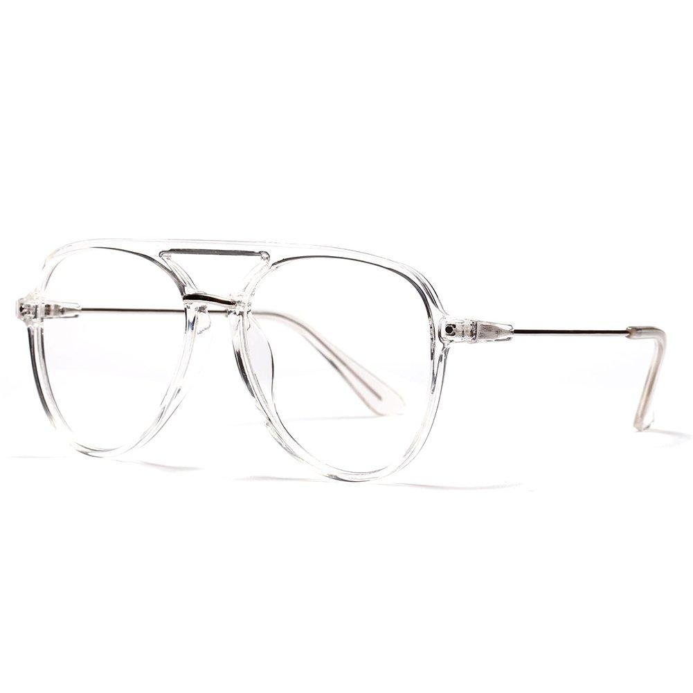 OVZA Fashion Big Glasses Frames Mens Transparent Eyeglasses Frames Women Classic (Transparent) (Black) S0089