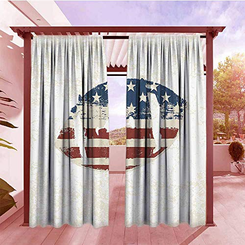 AndyTours Balcony Curtains Sports Decor Grunge American Flag Themed Hand Stitched Rugby Ball Vintage Design Football Theme Waterproof Patio Door Panel W120x84L Multi ()