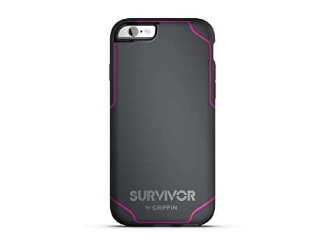 89b520908ffb18 Griffin Survivor Journey Coque pour iPhone 6 6s - Anthracite Rose Fluo