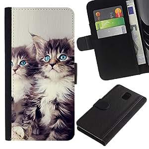 NEECELL GIFT forCITY // Billetera de cuero Caso Cubierta de protección Carcasa / Leather Wallet Case for Samsung Galaxy Note 3 III // Los gatitos de ojos azules