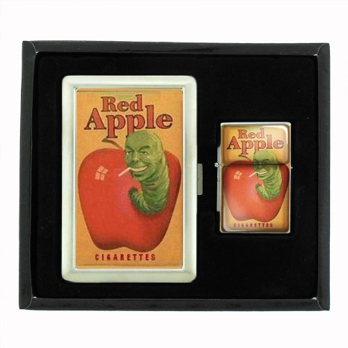 Red Apple Cigarette Green Worm Cigarette Case and Oil Lighter Gift Set D-021 by Perfection In Style