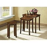 Monarch Specialties 3-Piece Solid-Top Nesting Table Set, Walnut