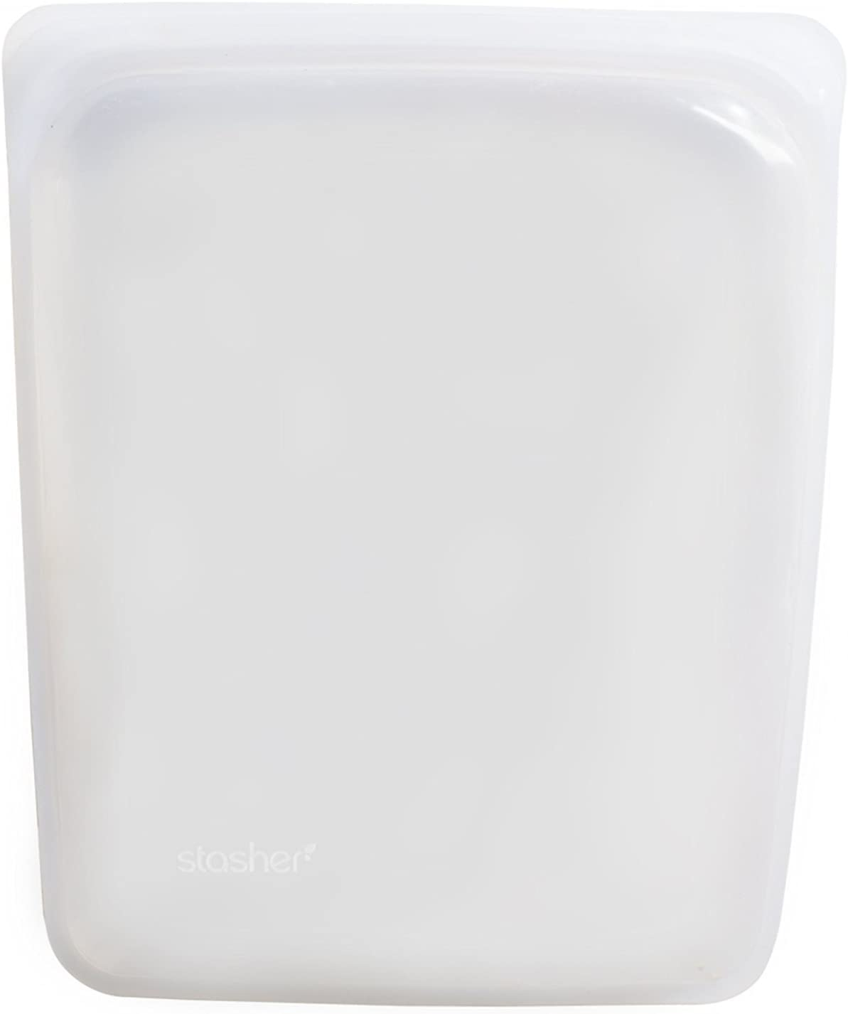 Stasher Re-Usable Food-Grade Platinum Silicone Half Gallon Bag for Eating from/Cooking, Freezing and Storing in/Sous Vide/Organising/Travelling, 26.05 cm x 20.95 cm, Clear