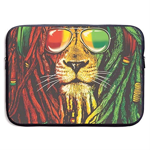 Reggae Rasta Flag Lion 13-15 Inch Laptop Sleeve Bag - Tablet Clutch Carrying Case,Water Resistant, Black (Laptop Case Lion)