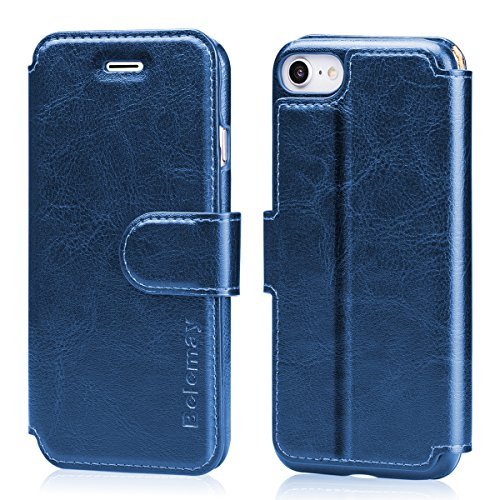 (Belemay iPhone 8 Case, iPhone 7 Case, Genuine Cowhide Leather Wallet Case, Folio Book Flip Cover, Card Holder Slots, Magnetic Clousure, Kickstand, Cash Pockets Compatible iPhone 8 / iPhone 7, Blue )