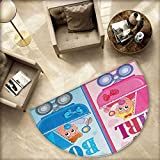 """Gender Reveal Semicircular Cushion Girl and Boy Baby Carriage Looking Newborn Announcement Theme Print Entry Door Mat H 66.9"""" xD 100.4"""" Pale Pink and Blue"""