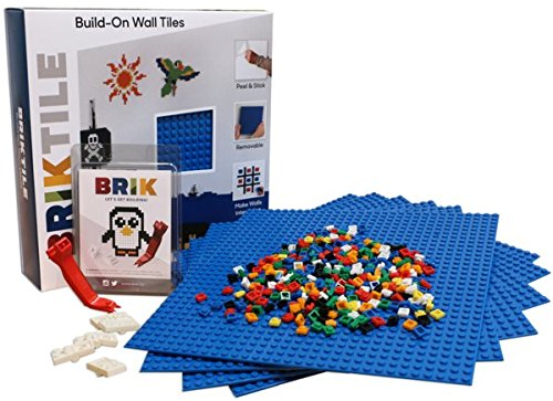Brik Tile - Wall & Table Building Kit - Removable - Peel & Stick - Compatible with Major Brands (Blue) (Removable Kit)