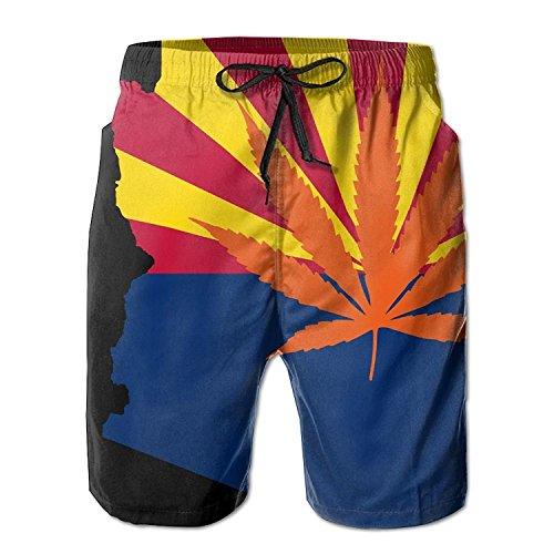 - I Like Exercise Weed Arizona Flag Map Men's/Boys Casual Shorts Swim Trunks Swimwear Elastic Waist Beach Pants with Pockets X-Large