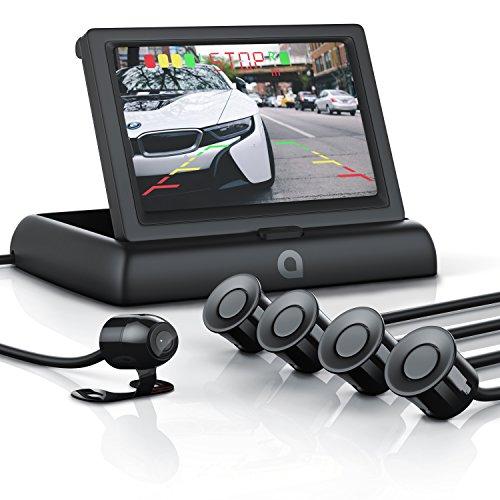 CSL - Rückfahrkamera mit Display / Einparkhilfe Sensorsystem Set | Autokamera Rückfahrhilfe | 4,3