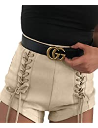Womens Sexy Lace Up High Waisted Faux Suede Shorts Pants With Zipper